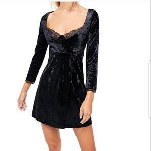 Free People Black M Kat Velvet Mini Dress NWT